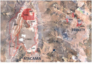 Wealth's total current lithium project position in northern Chile: the Atacama and Trinity Projects